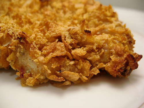 ... most amazing oven fried chicken coated in corn flakes. Delicious